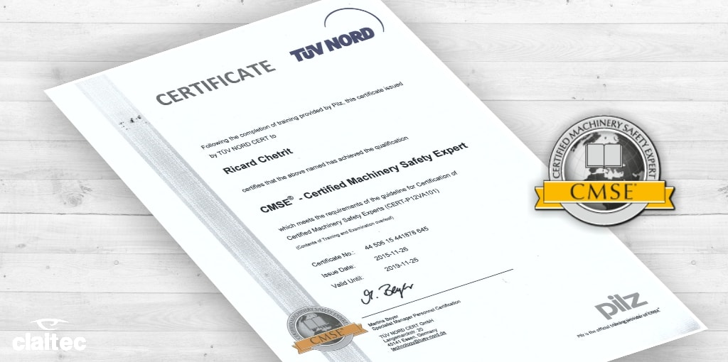 Machinery safety expert CMSE certificate